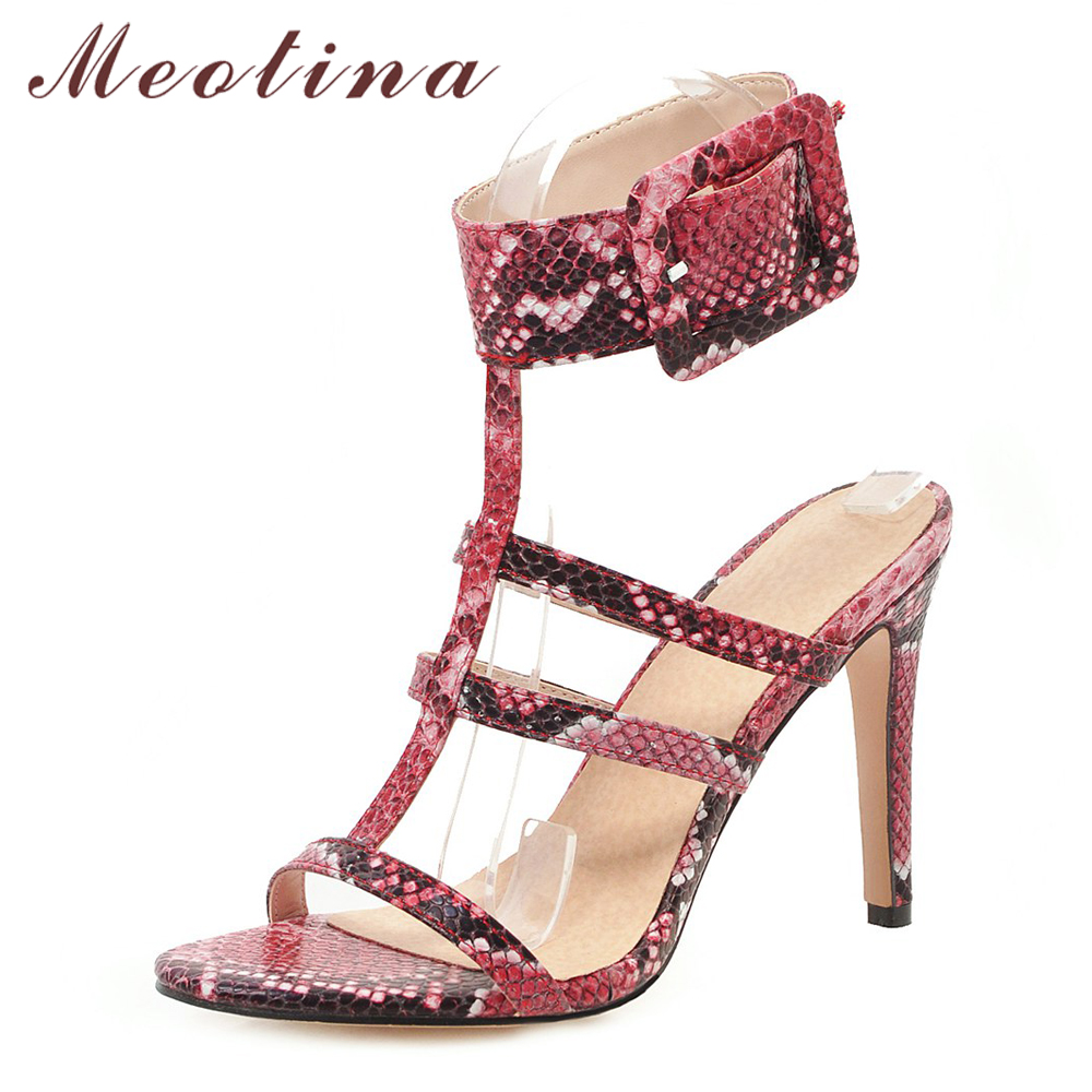 Meotina Women Gladiator Shoes Summer Sandals Snake Print Thin High Heel Shoes Sexy Buckle T-Strap Sandals Ladies Blue Size 4-12Meotina Women Gladiator Shoes Summer Sandals Snake Print Thin High Heel Shoes Sexy Buckle T-Strap Sandals Ladies Blue Size 4-12
