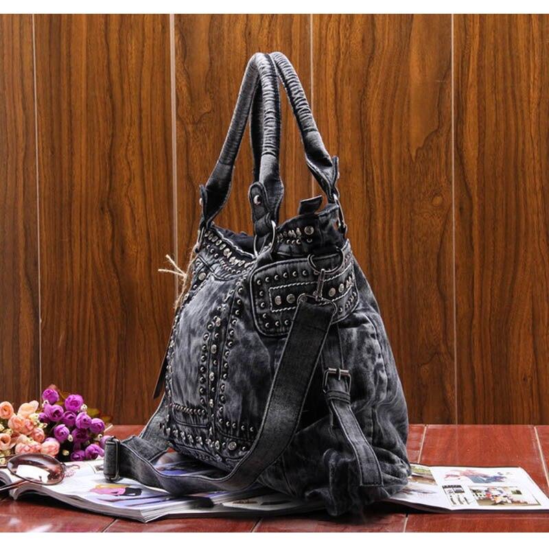Famous Brand Denim women large shoulder bag female jeans hobos bag with rivet women handbag-in Shoulder Bags from Luggage & Bags    3