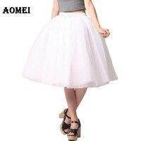2015 Female Office Workwear Lolita White Tulle Puff Skirt Plus Size S M L XL Beachwear