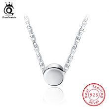 ORSA JEWELS Fashion 925 Sterling Silver Round Pendant Necklaces 44 cm for Women 2019 Genuine Silver Necklace Jewelry Gift SN04(China)