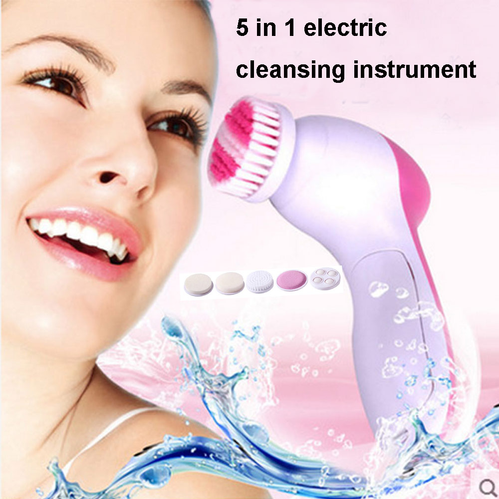 2017 Tens 1set 5 In 1 Electric Wash Face Machine Facial Pore Cleaner Cleaning Massage Mini Skin Beauty Massager Brush Wholesale 5 in 1 electric dead skin remover wash face machine facial pore cleaner body cleaning massage mini skin beauty massager brush