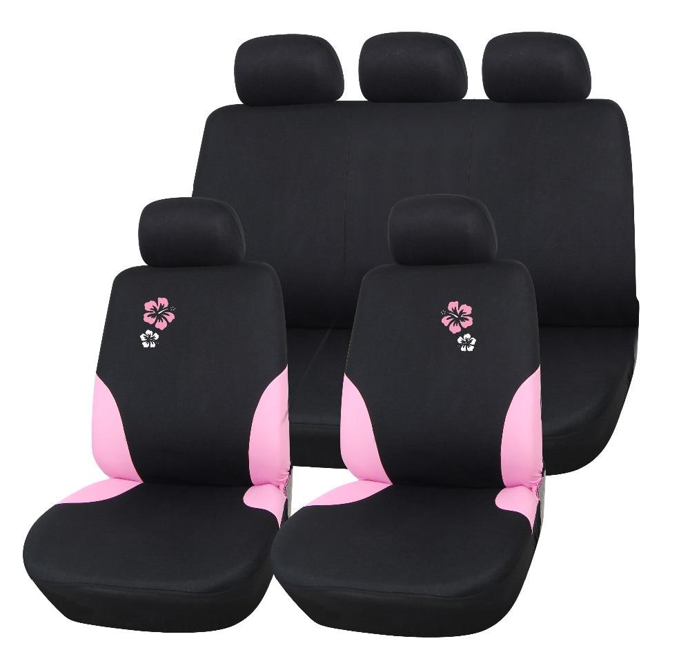 Lddczenghuitec Pink Flower Pattern Car Seat Covers Set Universal Fit