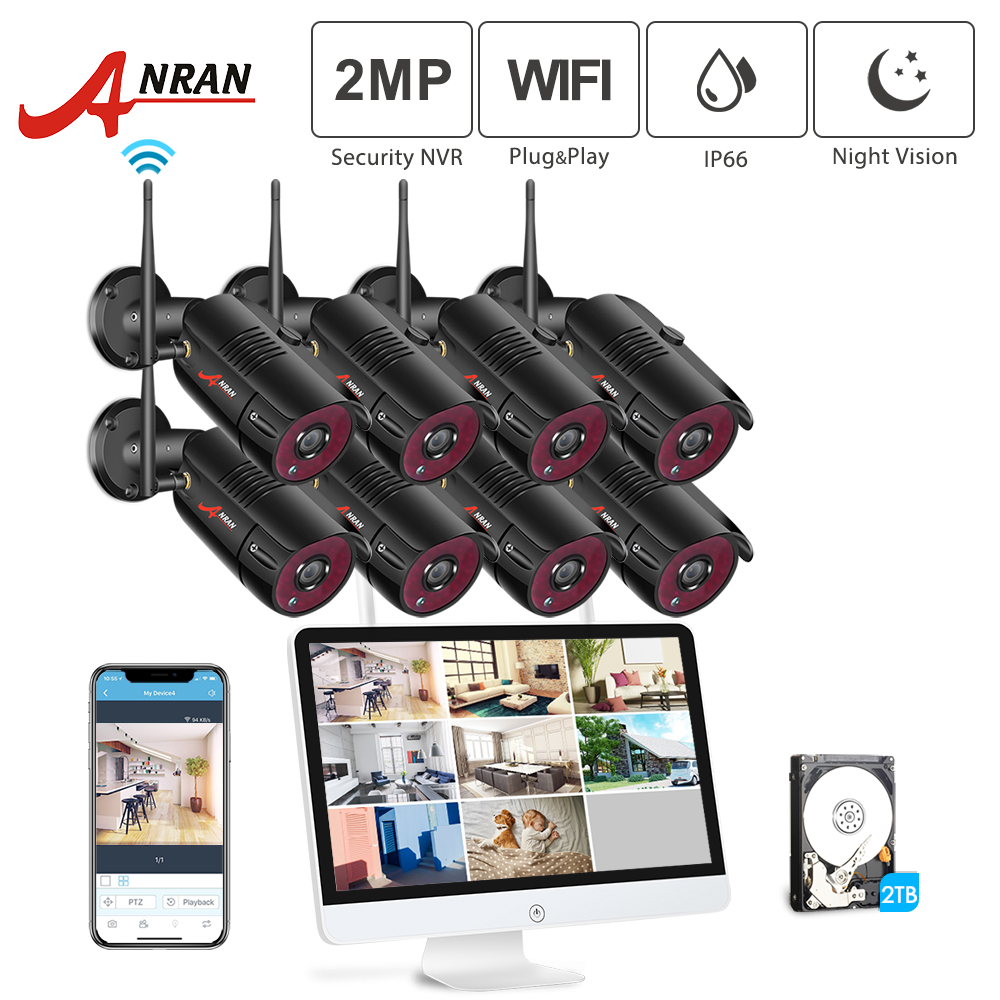 ANRAN 1080P 8CH Home Security Camera System Waterproof Outdoor Night Vision WiFi IP Camera with 15 Inch Monitor 2TB HDD NVR KitsANRAN 1080P 8CH Home Security Camera System Waterproof Outdoor Night Vision WiFi IP Camera with 15 Inch Monitor 2TB HDD NVR Kits