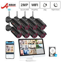 ANRAN 1080P 8CH Home Security Camera System Waterproof Outdoor Night Vision WiFi IP Camera with 15 Inch Monitor 2TB HDD NVR Kits anran hdmi 4ch wifi nvr 7 lcd monitor 720p ip66 dome waterproof wireless 30ir outdoor day night home security ip camera system