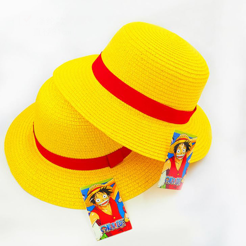 1 Pc Hot sale Anime One Piece Luffy Anime Cosplay Straw Boater Beach Hat Cap Halloween straw hat Figure Toy цена 2017