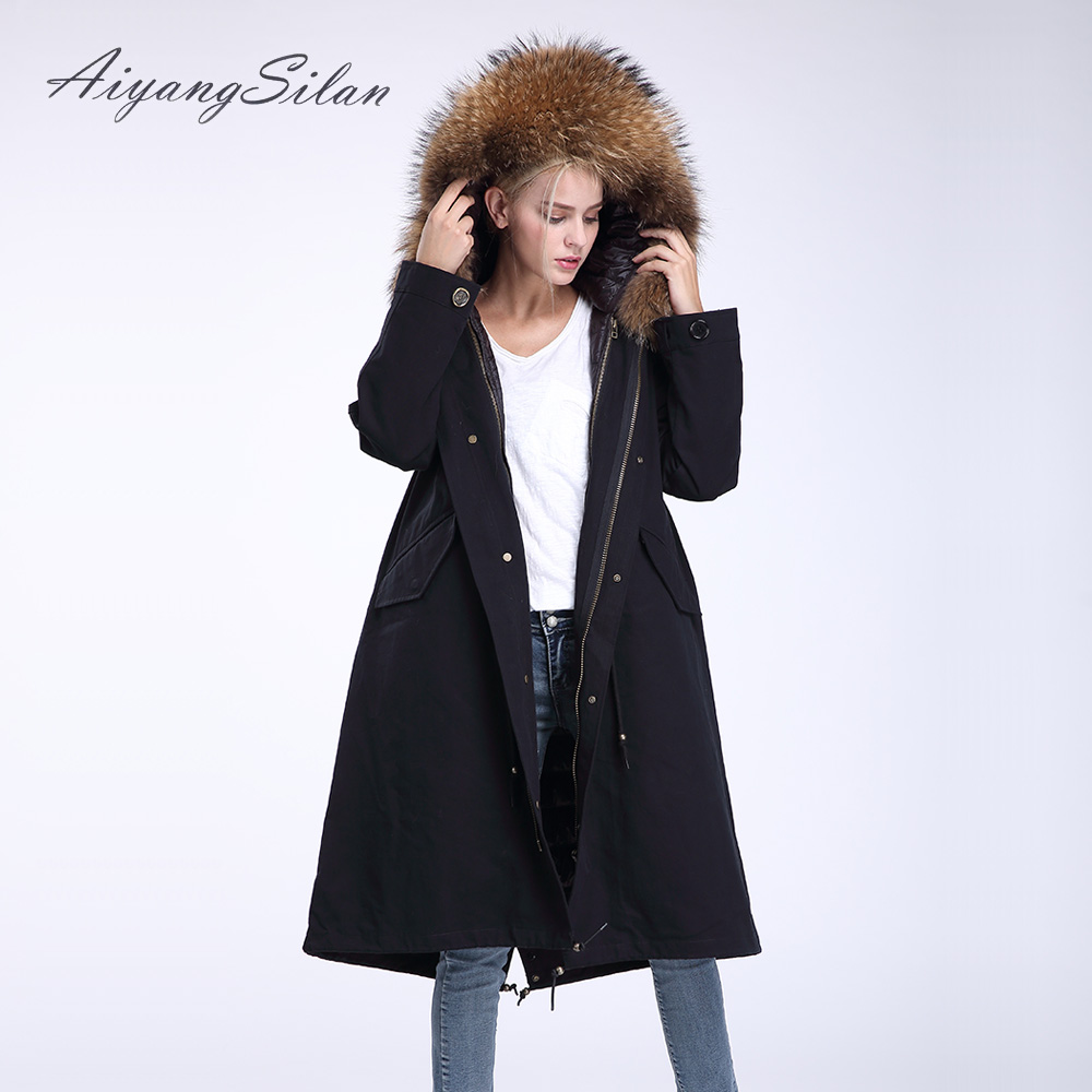 AiyangSilan Real Raccoon Fur Collar Coat Down Liner Coats Detachable Parka Women Fur Long Jacket with Hood Winter Warm Overcoat aiyangsilan fox fur down liner detachable jacket long warm hooded ladies fur coats white real fox fur collar parka for women