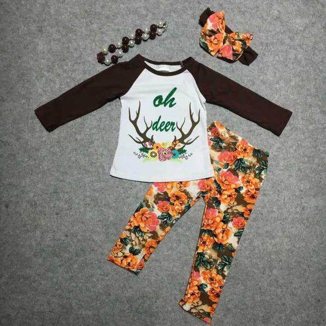 Bebé ropa De Navidad niñas niños x-mas trajes bebé moda infantil floral pant ropa niñas oh ciervos trajes con accessoreis