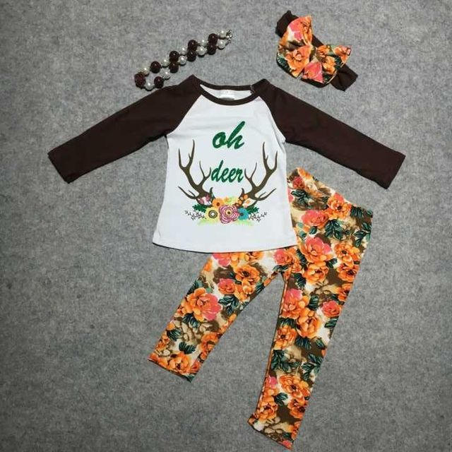 baby girls Christmas clothing children X-mas outfits baby kidswear floral pant clothes girls oh deer outfits with accessoreis