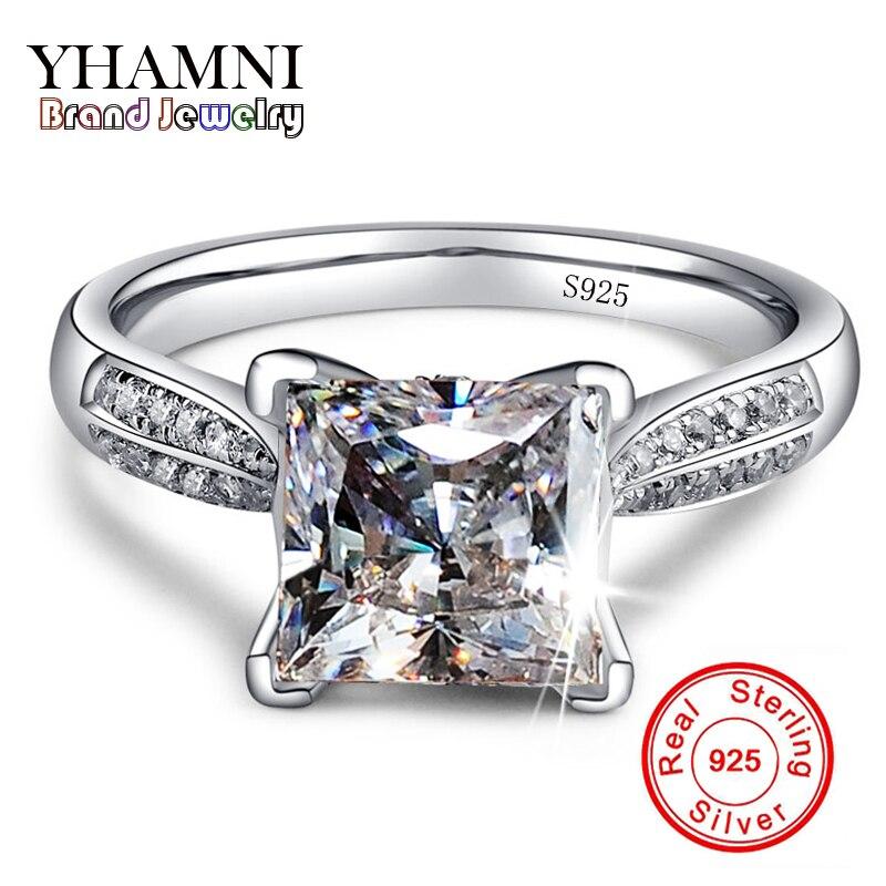 YHAMNI De Luxe Véritable 925 Solide Argent Anneaux Set Zircon CZ Diamant De Mariage Bagues de Fiançailles Pour Les Femmes Beaux Bijoux RR038