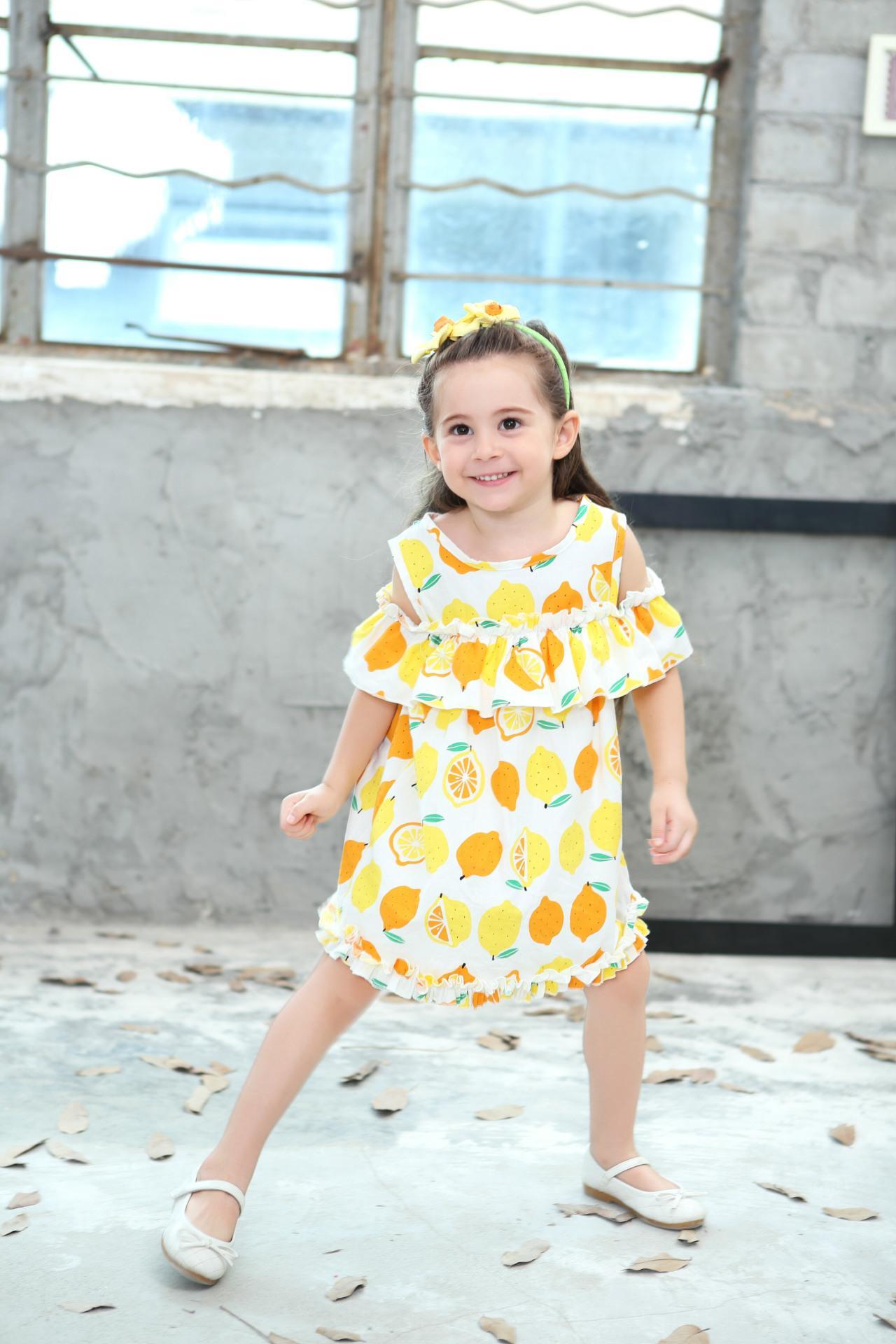 Lemon Printd Girls Dress 2018 New Summer Fashion Children Princess Dress Kids Children Clothes For 2 3 4 5 6 7 8 Years 5