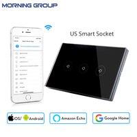 Wifi Smart Wall Switch Socket US Standard 3 Gang Glass Panel APP Remote Control No Hub