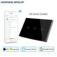 Wifi Smart Wall Switch Socket US Standard 3 Gang Glass Panel APP Remote Control No Hub