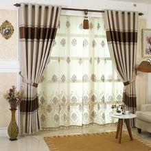 Modern and Simple European Style Shade Jacquard Curtains for Living Dining Room Bedroom Home Decoration Accessories