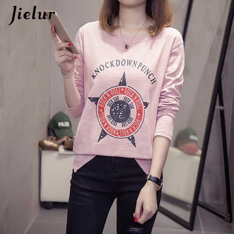Jielur осенне-Весенние футболки с длинными рукавами для женщин Новый Свободный Повседневный Топ Женская хлопковая Футболка с буквами розовые белые черные футболки