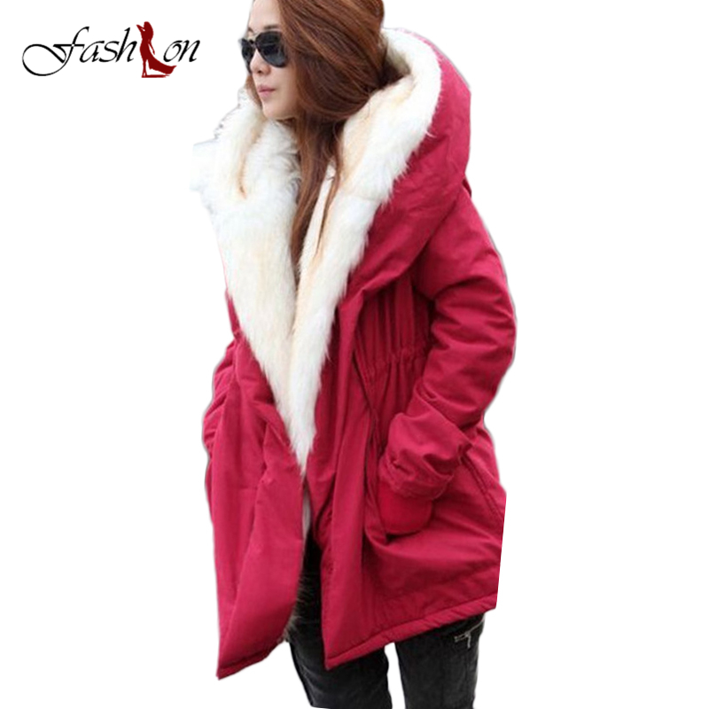 Hot Sale Solid Women Thick Coats New Fashion Fur Hooded Women Jackets Wild Plus Velvet Middle Long Winter Warm Casual Jackets