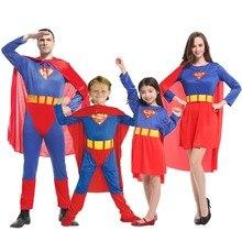 Umorden Purim Carnival Party Halloween Costumes Family Superman Cosplay Super Man Superhero Costume for Adult Kids Boy Girl