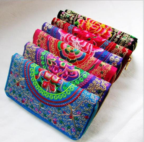 Hot!!! New 2017 Fashion National Money Tree Embroidered Ethnic Embroidery Bag Clutch Bag Lady Wallet Long Purse Free Shopping