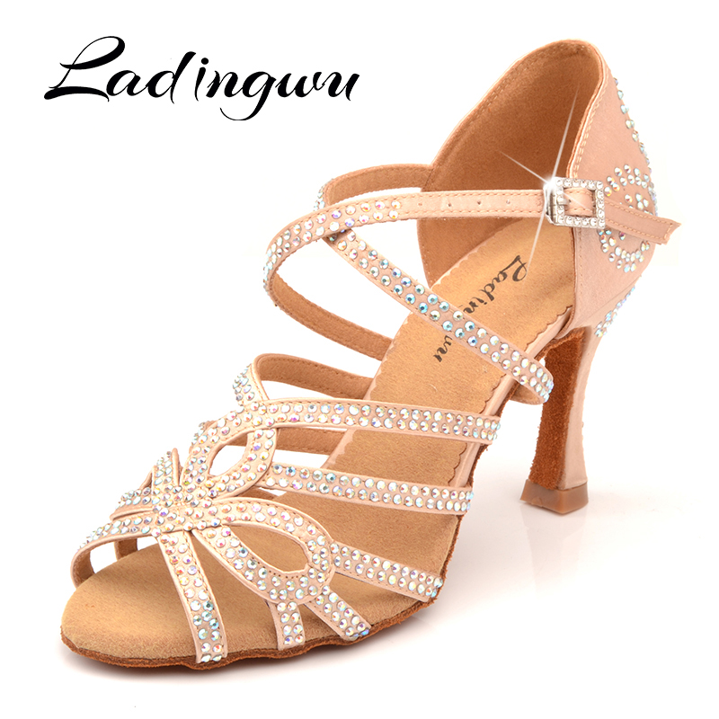 Ladingwu New Arrival Latin Dance Shoes Double Rhinestone Shining Skin Black Satin Women Ballroom Dancing Shoes Cuba Heel 9cm
