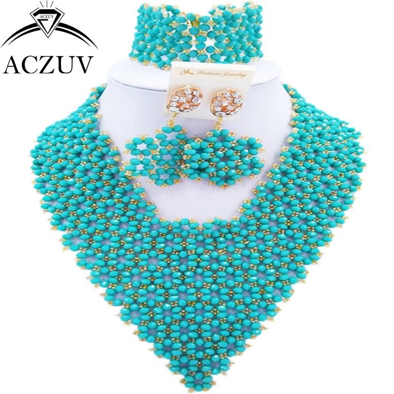 ACZUV marque Aqua bleu perles africaines ensemble de bijoux pour les femmes de mariage de mariée bijoux ensembles AJ006