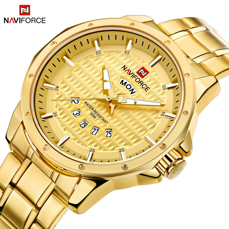 New Gold Quartz Watch Luxury Brand NAVIFORCE Mens Sport Watches Men Waterproof Stainless Steel Date Clock Relogio Masculino new men stainless steel gold watch luxury brand auto date mens quartz clock roman scale sports wrist watches relogio masculino