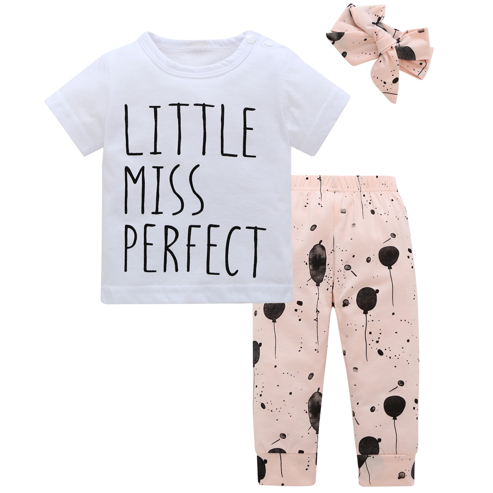 e2d4dc01d174e Summer infant baby girl clothes cotton letters printed t shirt + pants + headband  toddler 3pcs outfit newborn baby girl clothing-in Clothing Sets from ...