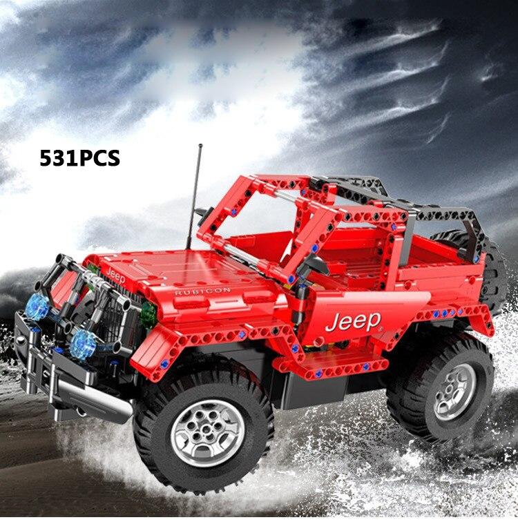 купить Hot remote radio control Chrysler jeep Wrangler 2in1 suv building block Off-road vehicle model bricks rc toy collection for gift по цене 6372.73 рублей