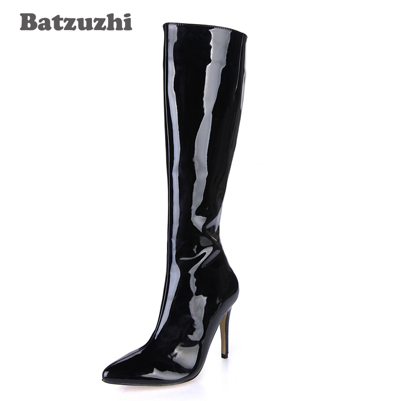 Batzuzhi 9.7cm Fashion Women Boots Pointed Toe Black Patent Leather Boots for Women Knee-high Zip Designer Sexy Boots Party, 43