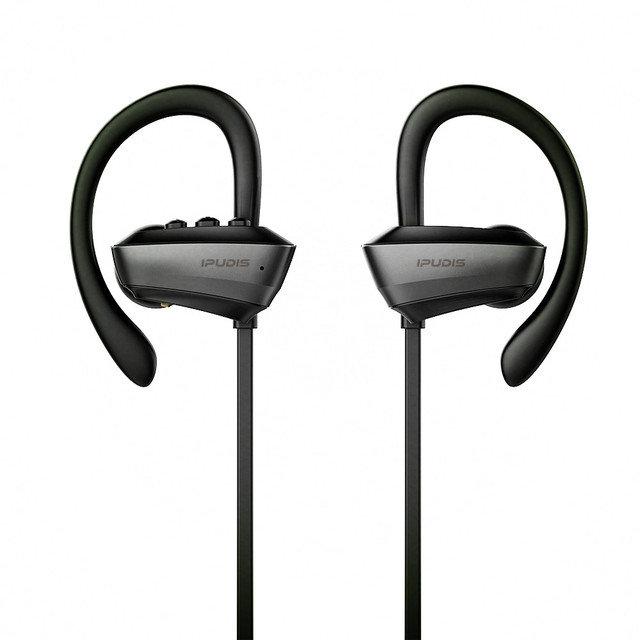 IPUDIS IPX7 Waterproof Wireless Headset Stereo Bluetooth Headphone Sport Earphone Ear Hook with Microphone
