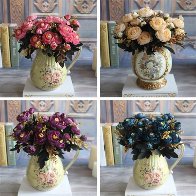 Hot Realistic 6 Branches Blue Autumn Artificial Fake Peony Flower Arrangement Wedding Hydrangea Home Decor Flores