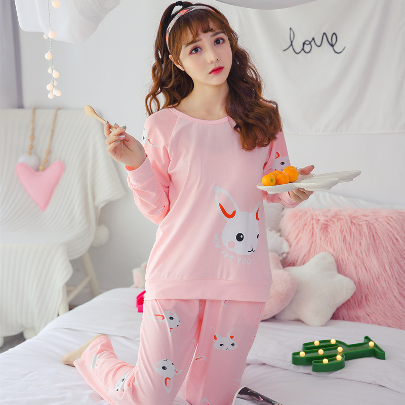 Woman Pajamas Sets Hot autumn long Sleeve Thin Pyjamas girls Home Clothing women Cartoon Print Cute loose Christmas sleepwear