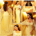 Mayiam Fares Light Yellow celebrity Dresses 2015 With Cape Scoop Neckline Mermaid Evening Gowns with Fixed Cape