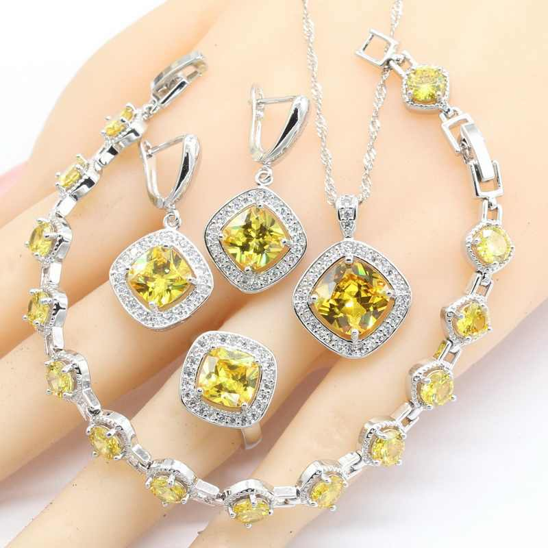 09bf14e5864ae1 Square Yellow Cubic Zirconia 925 Silver Jewelry Sets For Women Bracelet Earrings  Necklace Pendant Rings Free