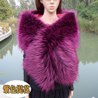 Top Quality Faux Raccoon Fox Fur Shawl Multicolor Customerized Color Size Scarf Bride Wedding Cosplay Party