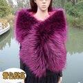 Top quality faux raccoon fox fur xale multicolor customerized cor e tamanho lenço de casamento da noiva partido cosplay faux fur cape cachecol