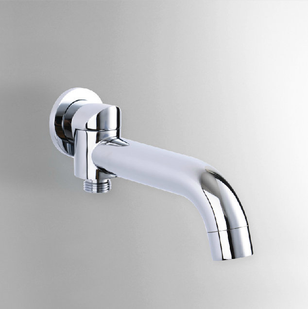 With Diverter 2 Way Outlet Swivel Spout Round Wall Mounted Mixer ...