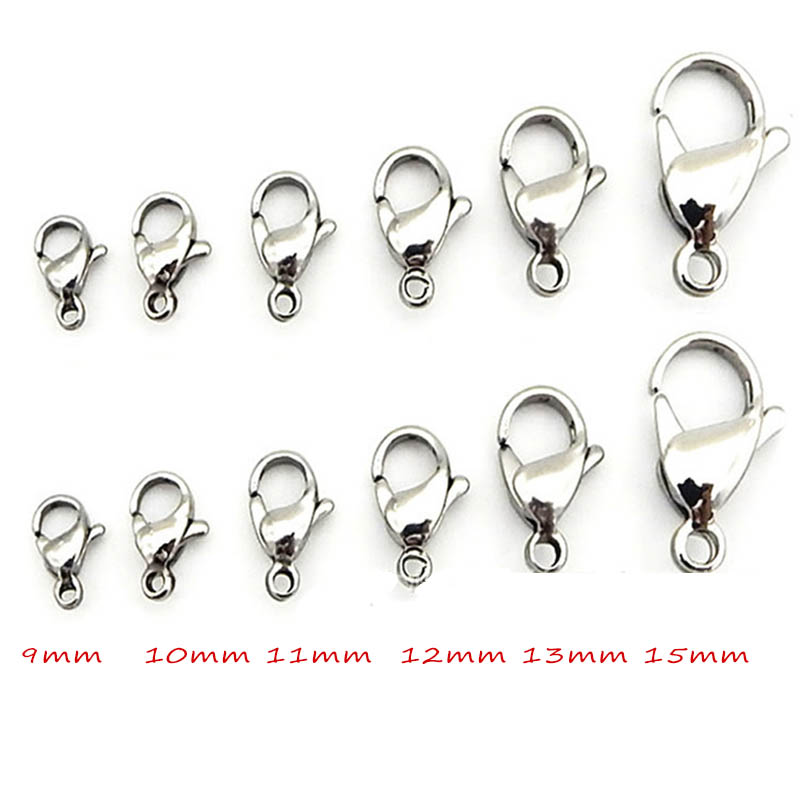 50pcs Stainless Steel 9/10/11/12/13/15mm Metal Lobster Clasps for Diy Jewelry Making Chain Hooks Connector Bracelet Findings