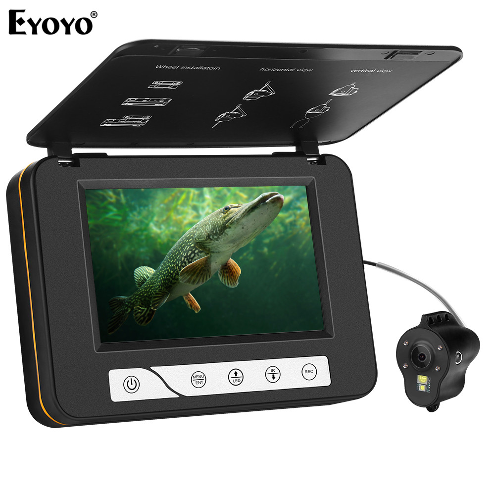 """Eyoyo EF15R Original 15M 1000TVL Underwater Ice Fishing Camera 5"""" LCD Monitor 4pcs Infrared+2pcs White Leds Night Vision Camera-in Fish Finders from Sports & Entertainment"""