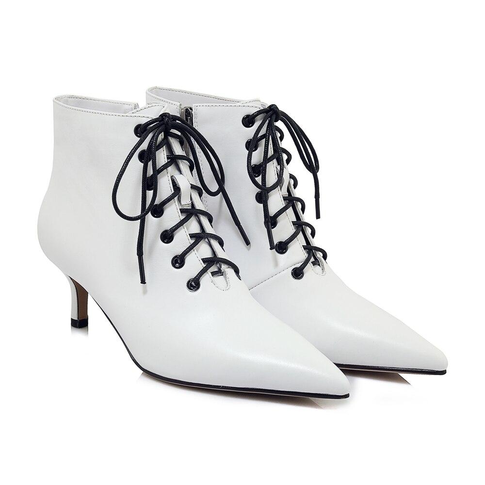 Arden Furtado 2018 frühling herbst weiß stilettos high heels 6 cm stiefeletten frauen schuhe schwarz leder lace up mode stiefel-in Knöchel-Boots aus Schuhe bei  Gruppe 3