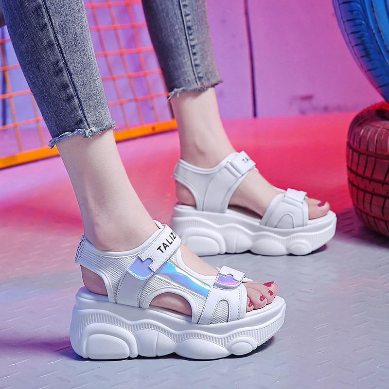 Open-toed Women Sport Sandals Wedge Hollow Out Women Sandals Outdoor Cool Platform Shoes Women Beach Summer Shoes 7cm