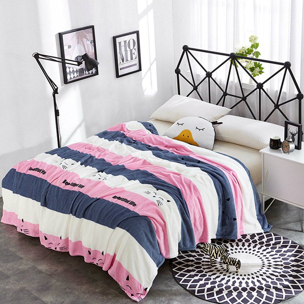 New Pink Cat Plaid Flannel Fleece Blankets Soft Throw On the Bed Coperta Cobertor sofa/Bedding/Plane/TV Travel Sofa Cover Quilts