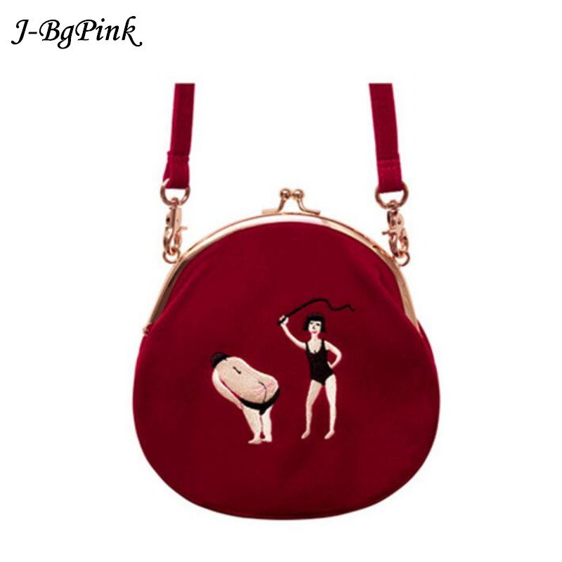 Velvet Bag women Vintage bag Velvet Embroidery Women Messenger Bags In Bulat Semi-round Round Original Designed