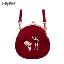 Samt frauen Vintage tasche Samt Stickerei Frauen Messenger Bags In halbkreis Runde Form Original Entworfen