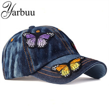 [YARBUU]Brand Baseball Cap women casual snapback hat for Butterfly new fashion solid jeans caps summer sun lady denim cap