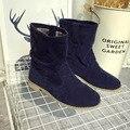 2016 de Otoño E Invierno Las Mujeres Ronda botas de tacón bajo Zapatos de tubo corto botas de mujer Martin Capa de cañón Largo Femeninos Cargadores de Martin