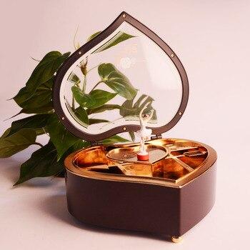 Caja de música para niñas con forma de corazón, caja Musical de bailarina, regalo de cumpleaños para niños, Navidad, Día de San Valentín, mano, manivela, música