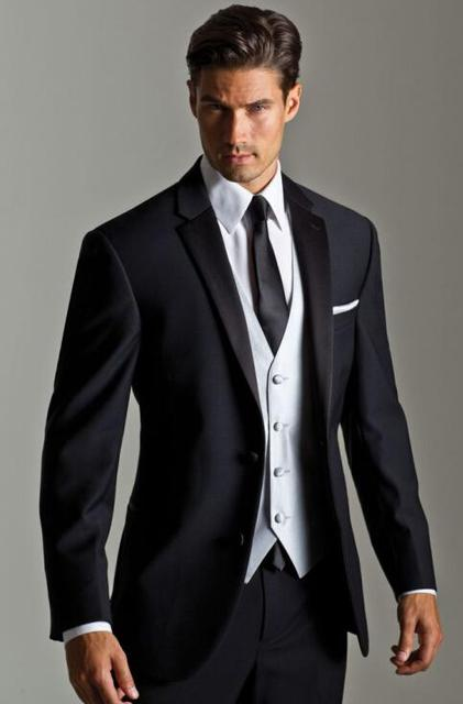 High Quality Two Ons Black Groom Tuxedos Groomsmen Mens Wedding Suits Prom Bridegroom Jacket