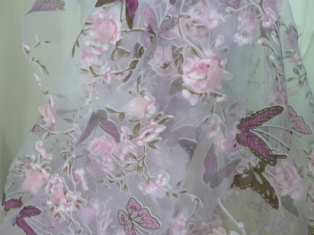 2 Colors Colorful 3d Flower Organza Butterfly Fabric Chiffon Fabric