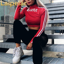 Laipelar Autumn winter new women crop top sweatshirt t shirt gothic letter printing short outwear two ways wearing