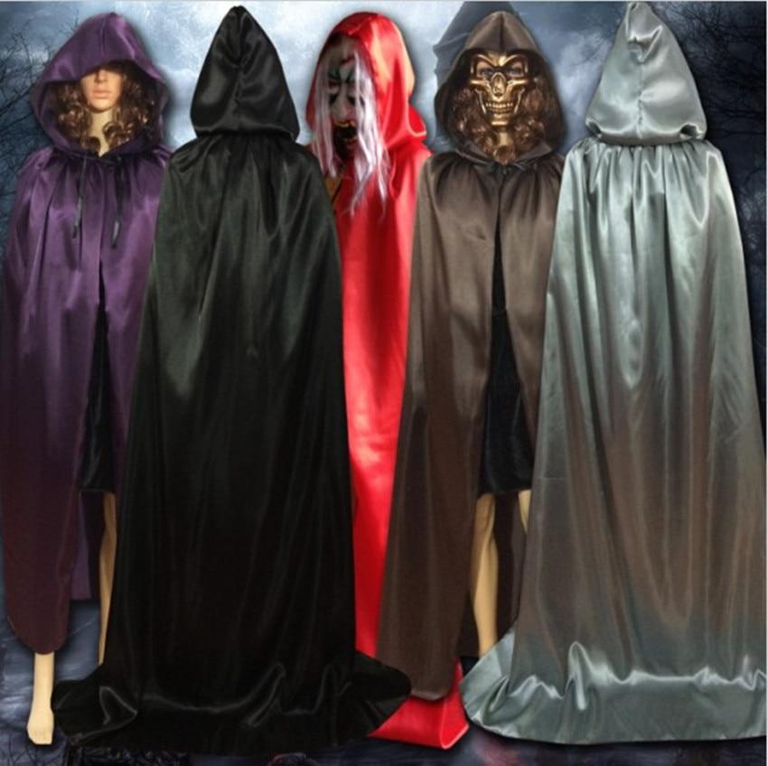 Clogyn Calan Gaeaf Cosplay Clogyn Hooded Newydd Wicca Gothig Robe Dewiniaeth Ganoloesol Larp Cape Du Coch Porffor Brown S-XL