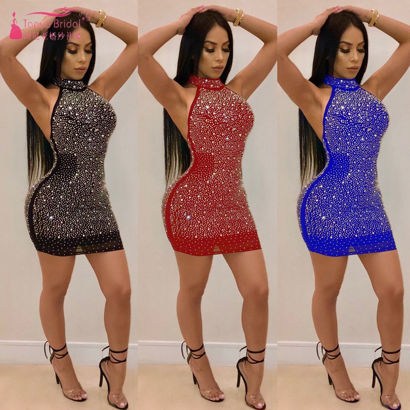 TANYA Sexy Backless Straight Short Mini Cheap   Cocktail     Dresses   Simple Style Party   Dress   In Stock Red Black   Dress   JQ442